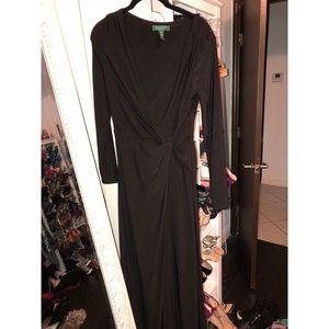 Ralph Lauren Black Faux Wrap Evening Gown 👗